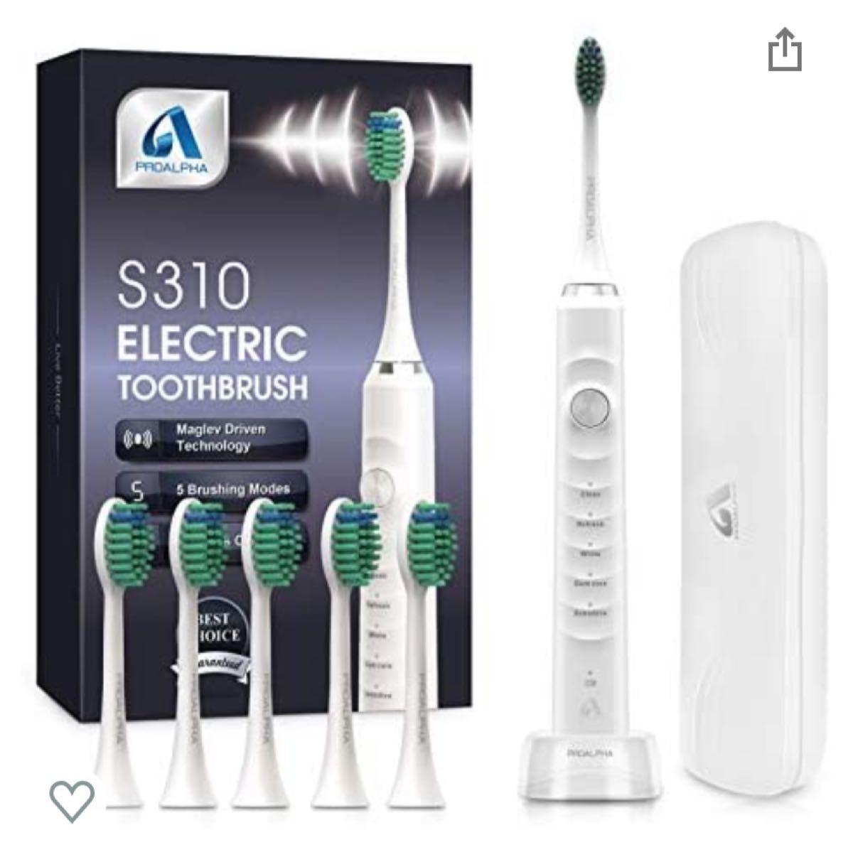 電動歯ブラシ 音波歯ブラシ ソニック USB充電式 IPX7防水 5本替えブラシ 5つのモード