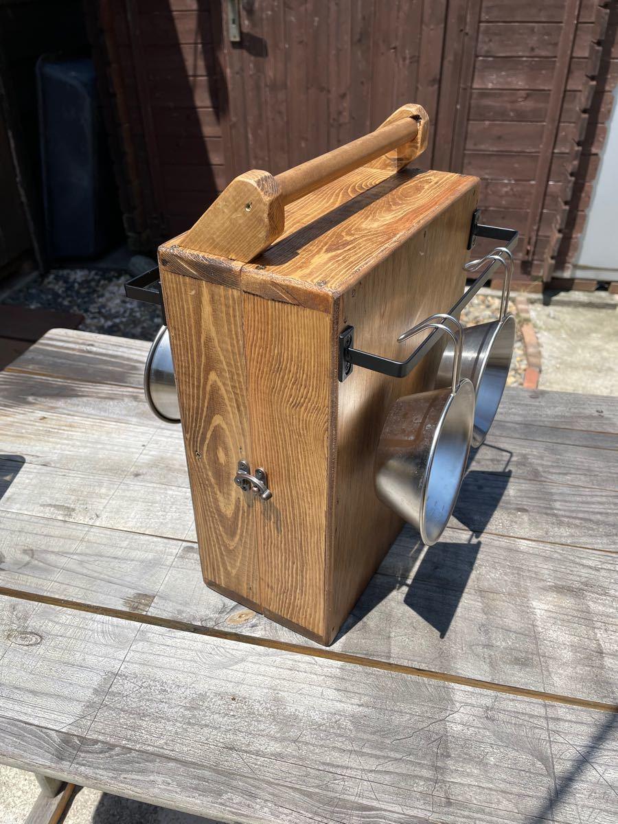 キャンプアウトドア調味料スパイスボックス道具入れ オカモチタイプ多目的ボックスお洒落所有感最高スパイスボックス ブライワックス使用