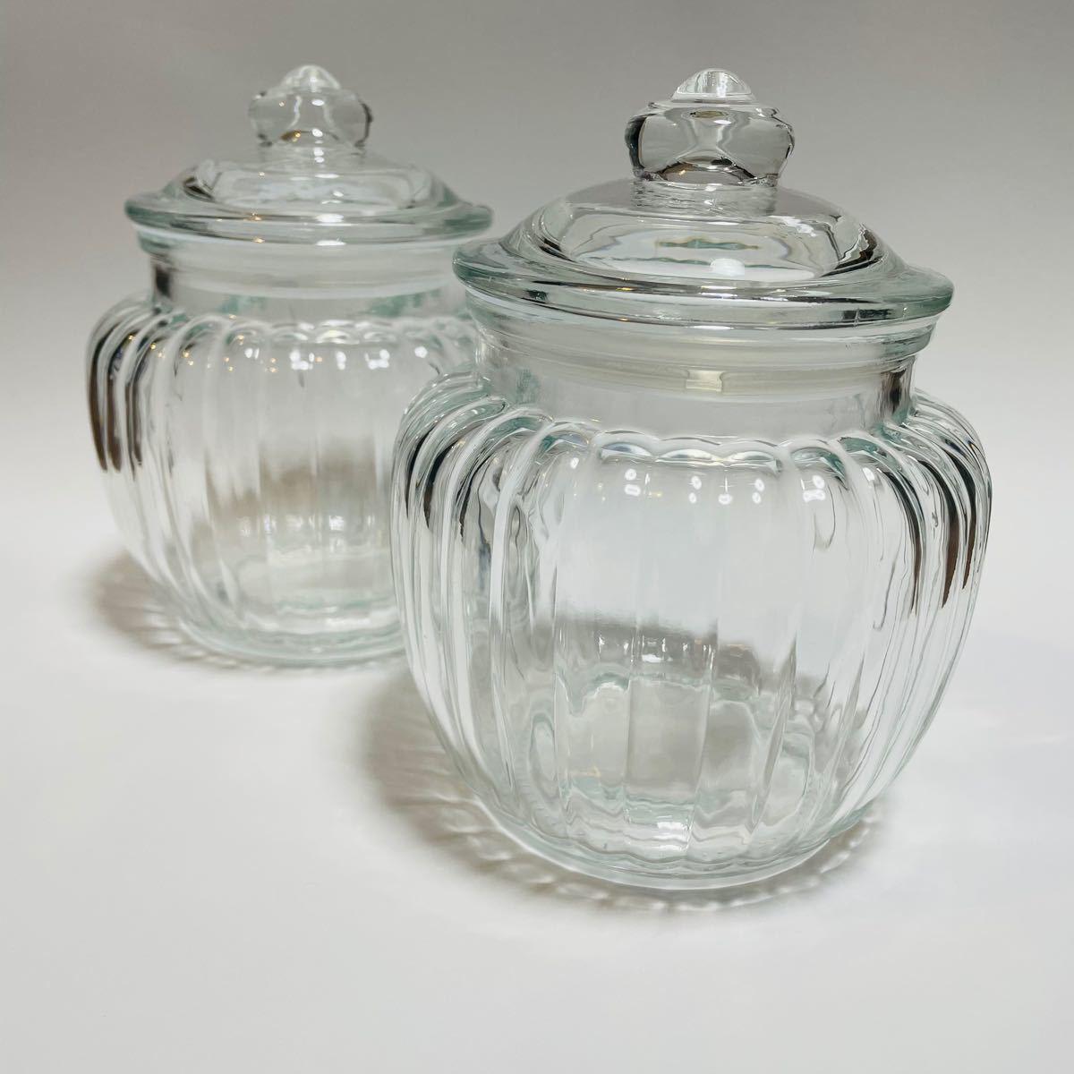 ガラスキャニスター ガラス瓶 蓋付き レトロ アンティーク ガラスキャニスター