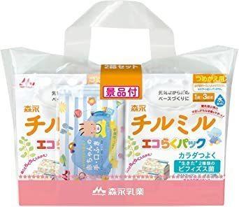 新品森永 フォローアップミルク チルミル エコらくパック つめかえ用 1600g(400g×2袋×2箱) [P5U4_画像1