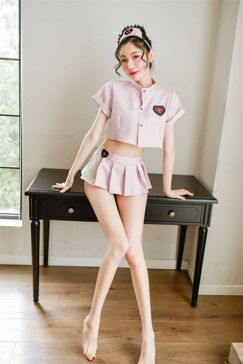 最新作..コスプレ衣装看護婦.ナース服.可愛らしくセクシー.ミニスカート+トップス+Tバック+カチューシャ.艶かしい.ベビードールWC570_画像5