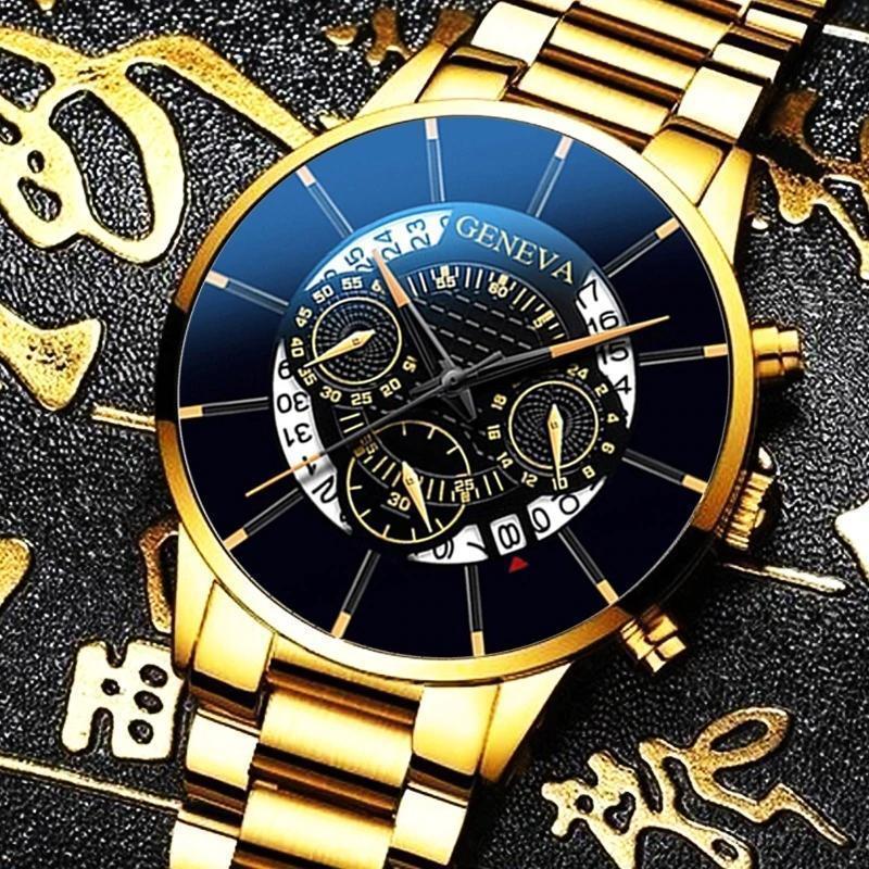 2020 男性の高級時計リロイhombreレロジオmasculinoステンレス鋼カレンダークォーツ時計メンズスポーツ腕時計ジュネーブ時計 WCYB691_画像6