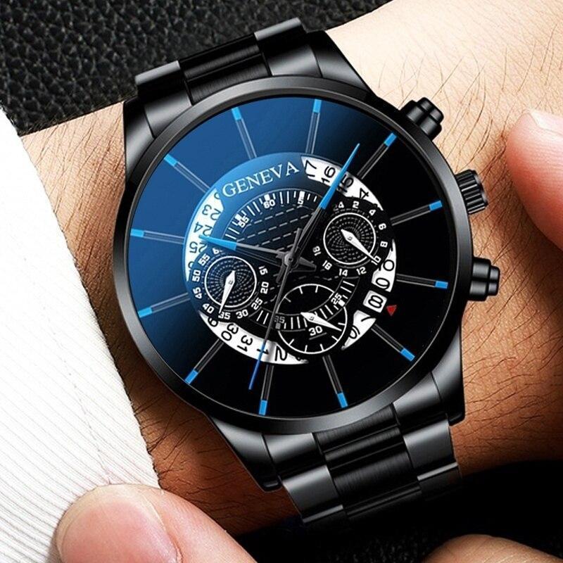 2020 男性の高級時計リロイhombreレロジオmasculinoステンレス鋼カレンダークォーツ時計メンズスポーツ腕時計ジュネーブ時計 WCYB691_画像3