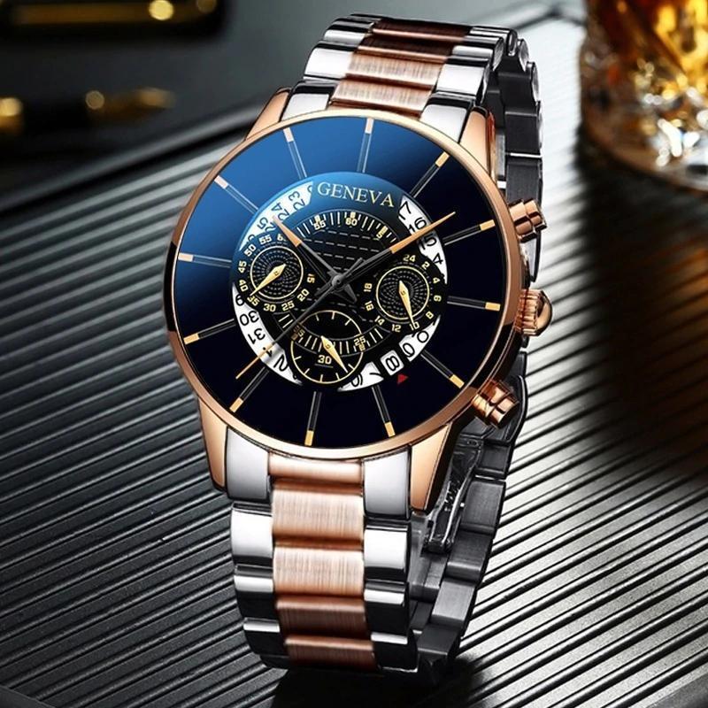 2020 男性の高級時計リロイhombreレロジオmasculinoステンレス鋼カレンダークォーツ時計メンズスポーツ腕時計ジュネーブ時計 WCYB691_画像5
