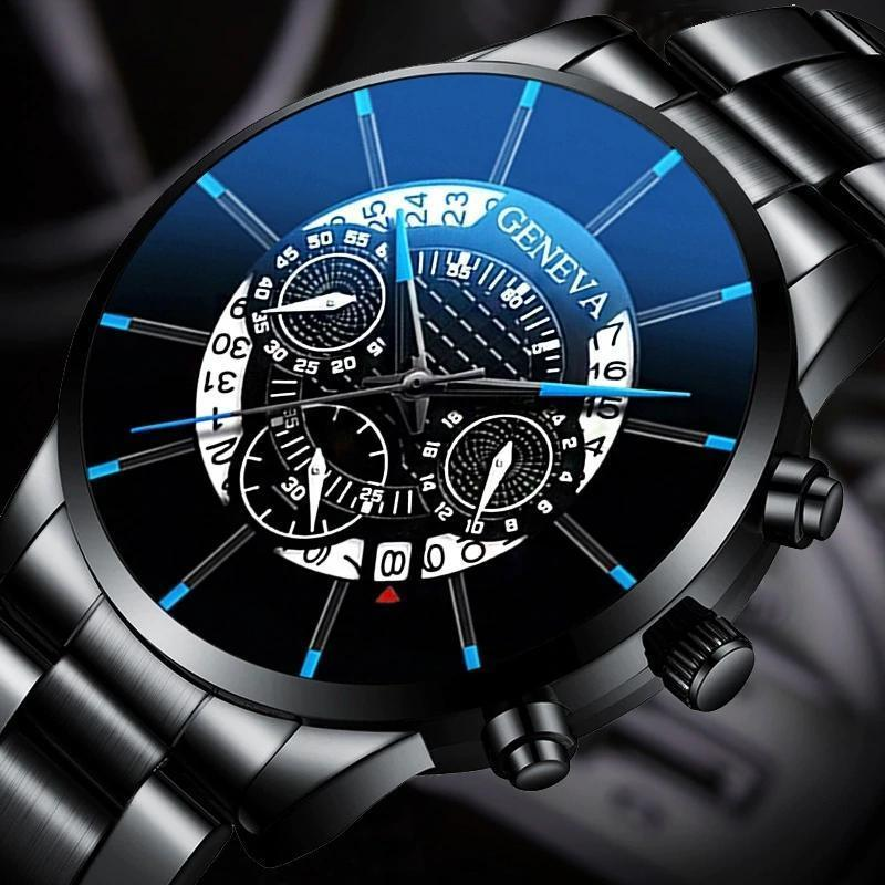 2020 男性の高級時計リロイhombreレロジオmasculinoステンレス鋼カレンダークォーツ時計メンズスポーツ腕時計ジュネーブ時計 WCYB691_画像1