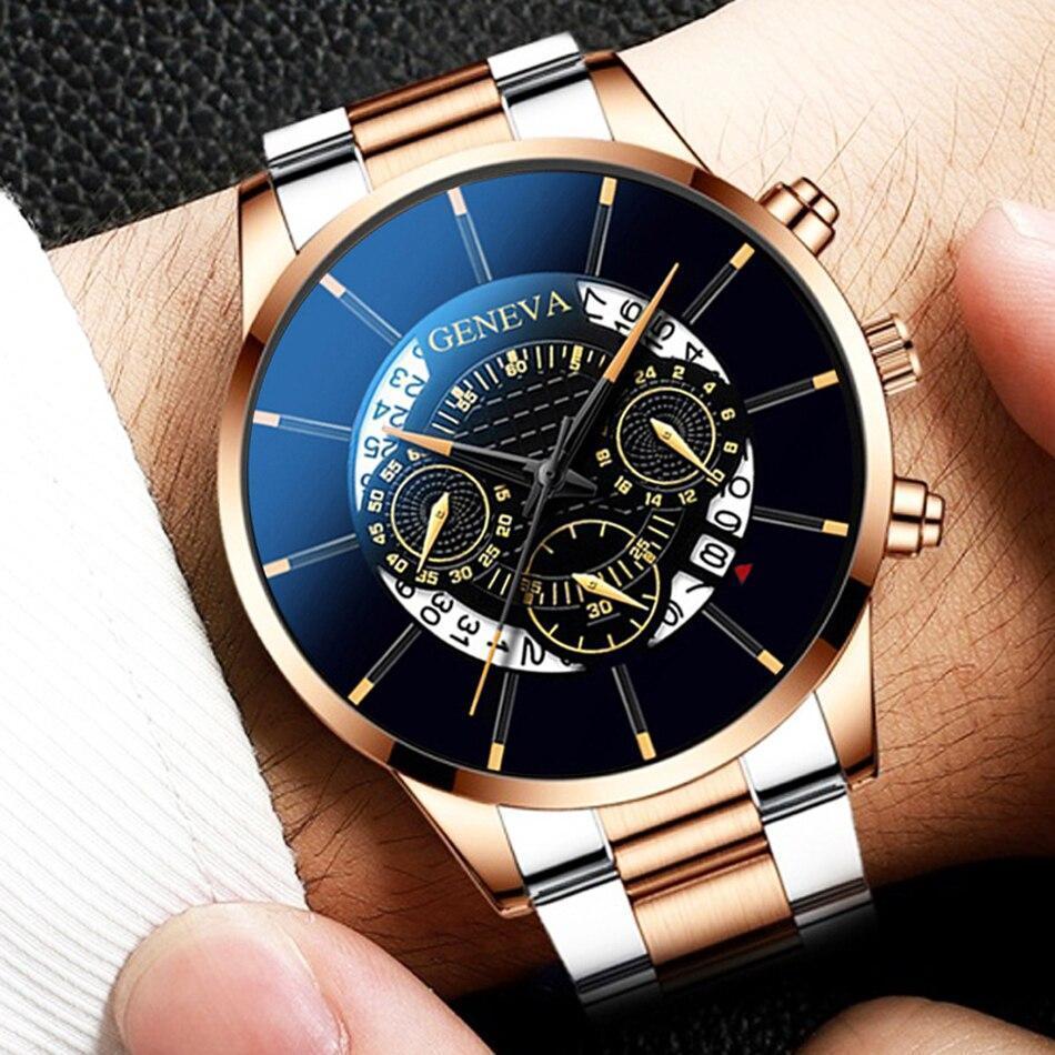 2020 男性の高級時計リロイhombreレロジオmasculinoステンレス鋼カレンダークォーツ時計メンズスポーツ腕時計ジュネーブ時計 WCYB691_画像2