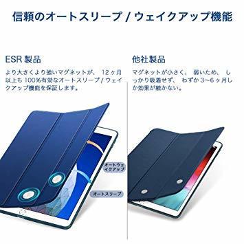 ネイビーブルー ESR iPad Mini 5 2019 ケース 軽量 薄型 PU レザー スマート カバー 耐衝撃 傷防止 ソ_画像4