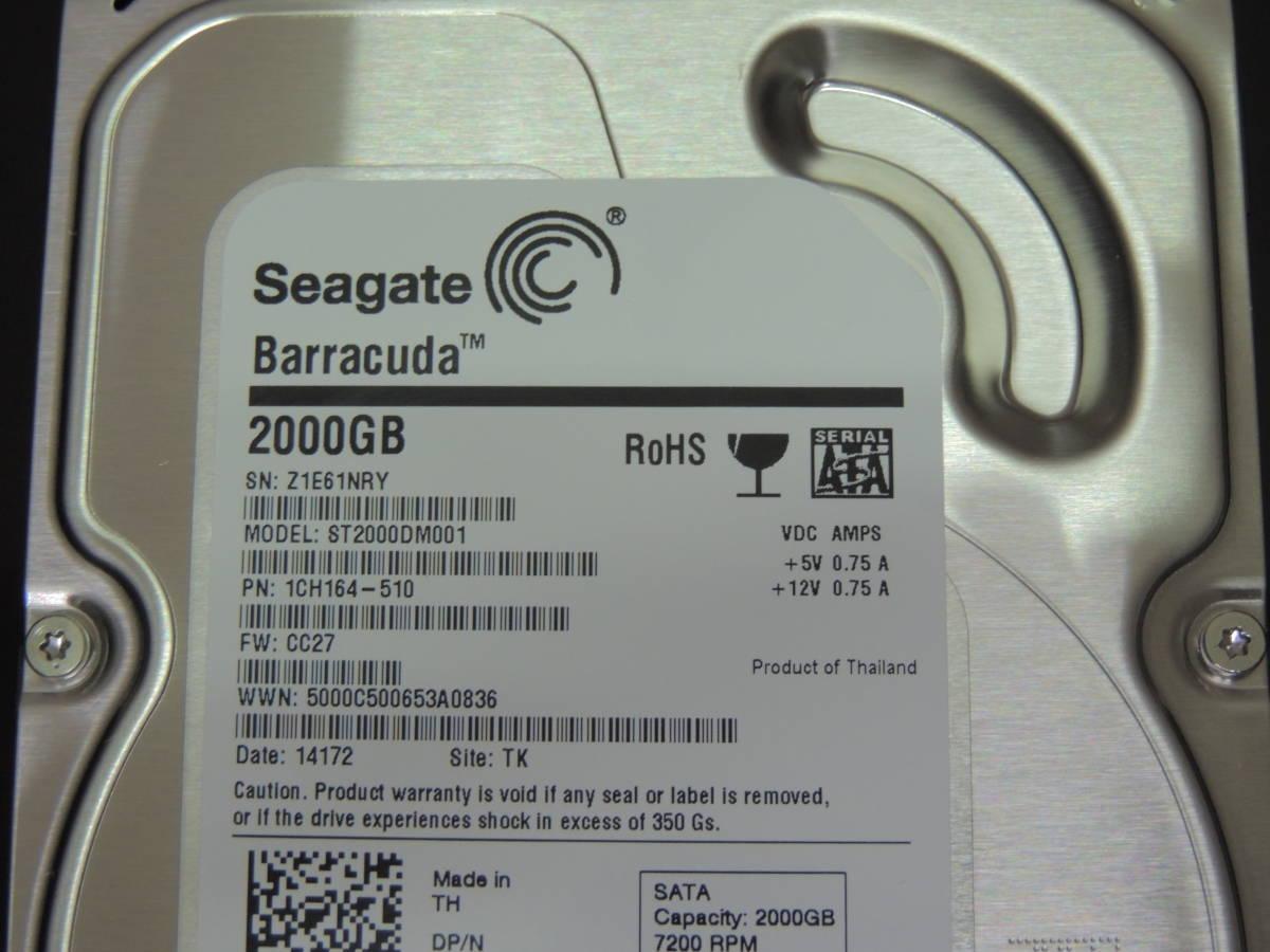 【検品済み/使用98時間】Seagate 2TB HDD 3.5インチ ST2000DM001 管理:i-97_画像4