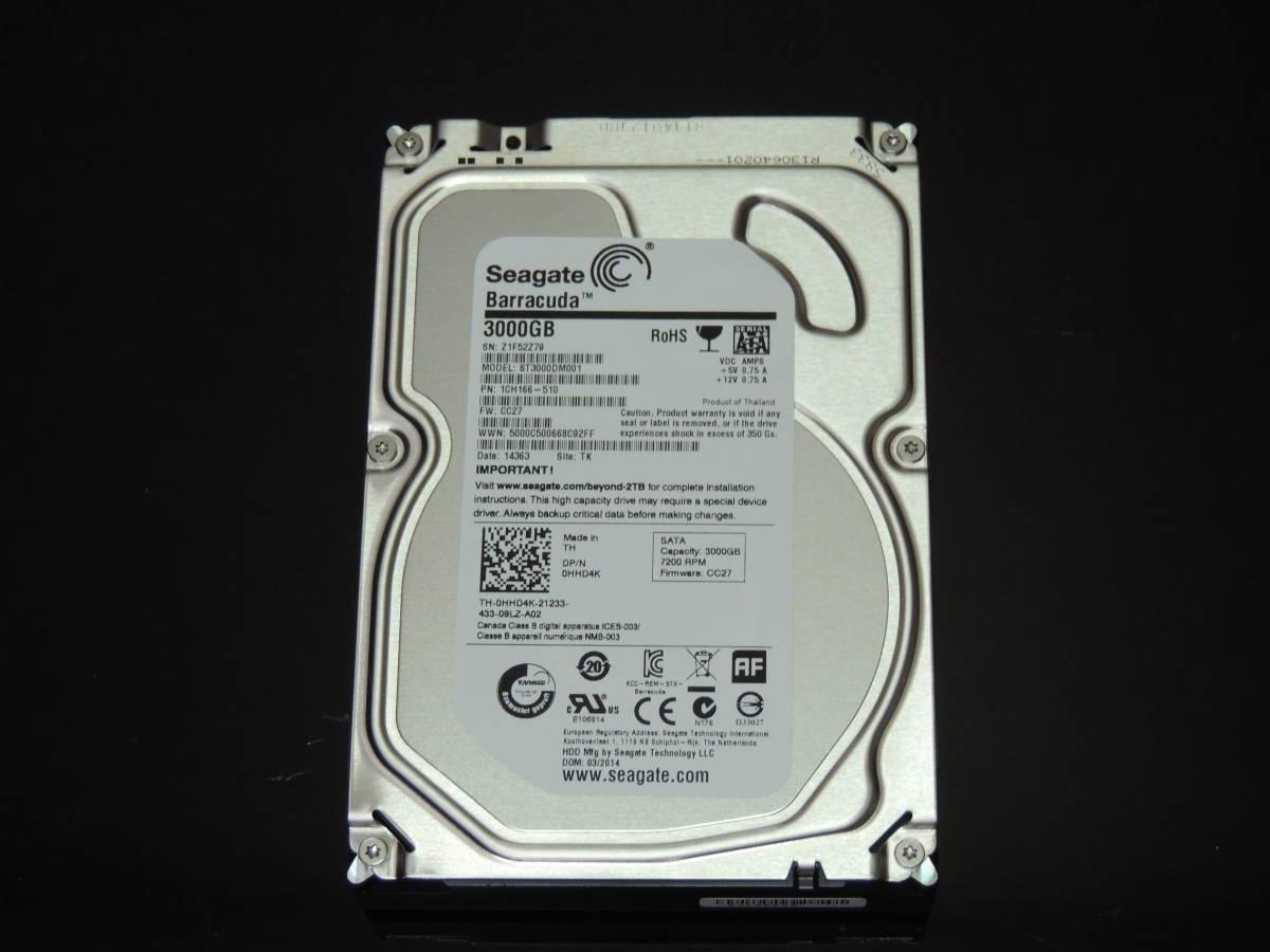 【検品済み】Seagate 3TB HDD 3.5インチ ST3000DM001 (使用1033時間) 管理:t-18_画像1