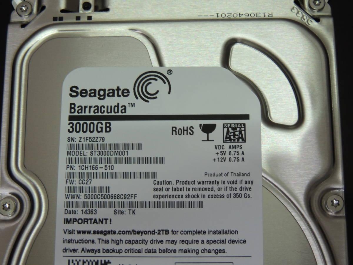 【検品済み】Seagate 3TB HDD 3.5インチ ST3000DM001 (使用1033時間) 管理:t-18_画像4