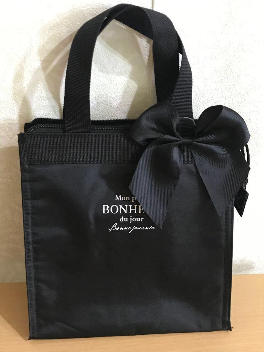 トートバッグ ランチバッグ保冷保温 レディースバッグ 黒 サブバッグ リボン ミニバッグ コンパクトバッグ 弁当用品