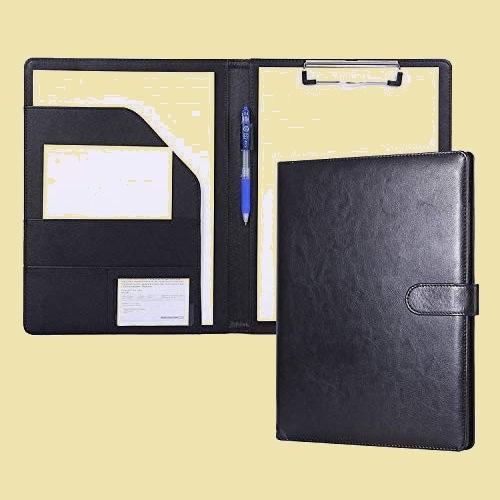 未使用 新品 会議パッドクリップファイルバインダ-A4デスクパッド署名フォルダ クリップボ-ドフォルダPU X-VB 事務用品 (黒)_画像1