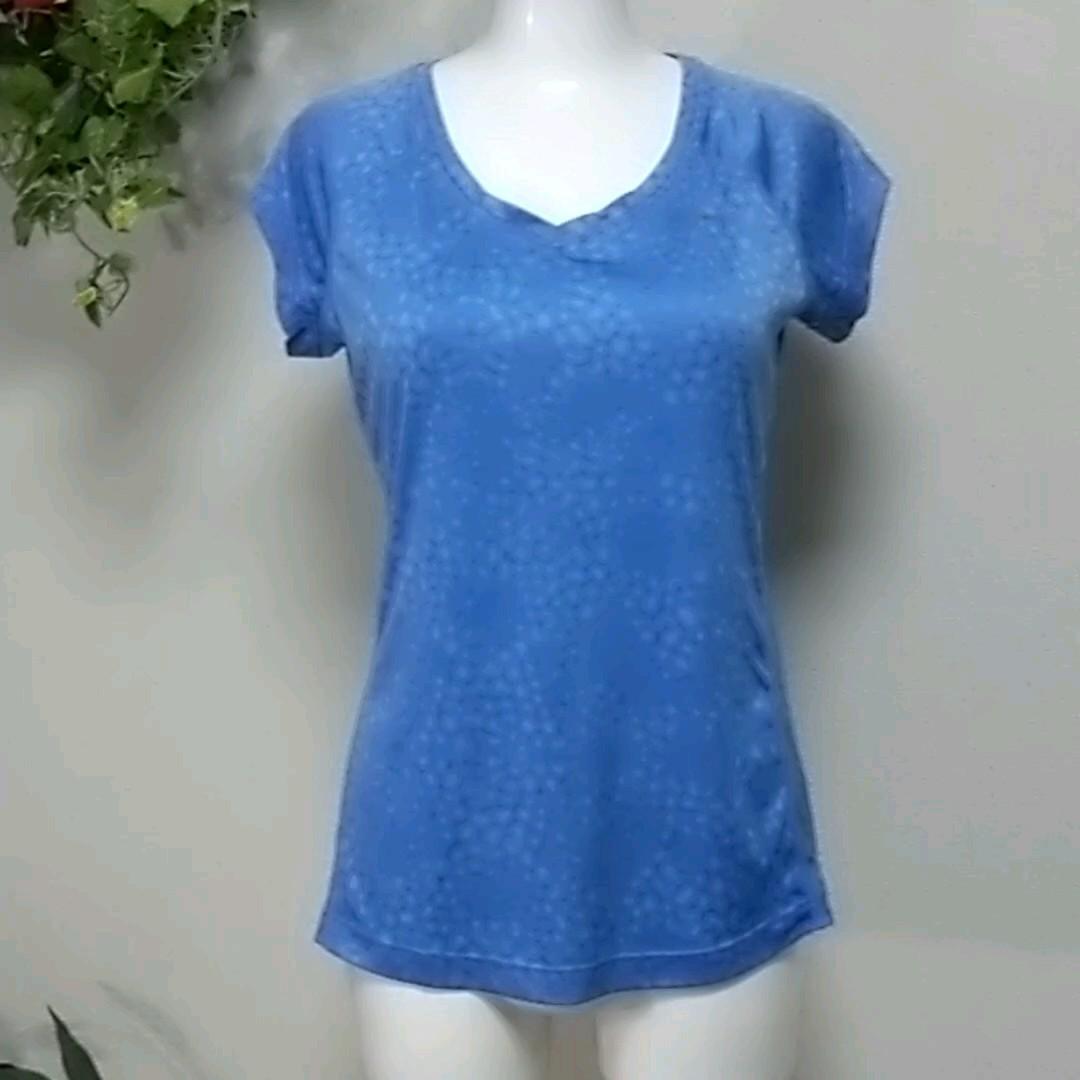 ナイキランニング半袖TシャツM ブルー 高機能DRY-FITでサラっと快適  NIKE RUNNING Vネック
