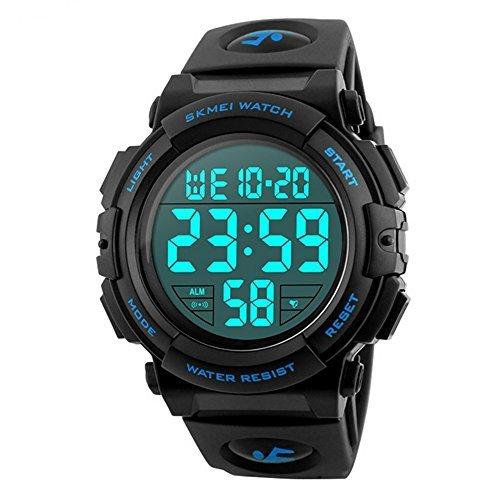 ブルー Timever(タイムエバー)デジタル腕時計 メンズ 防水腕時計 led watch スポーツウォッチ アラーム ストッ_画像1