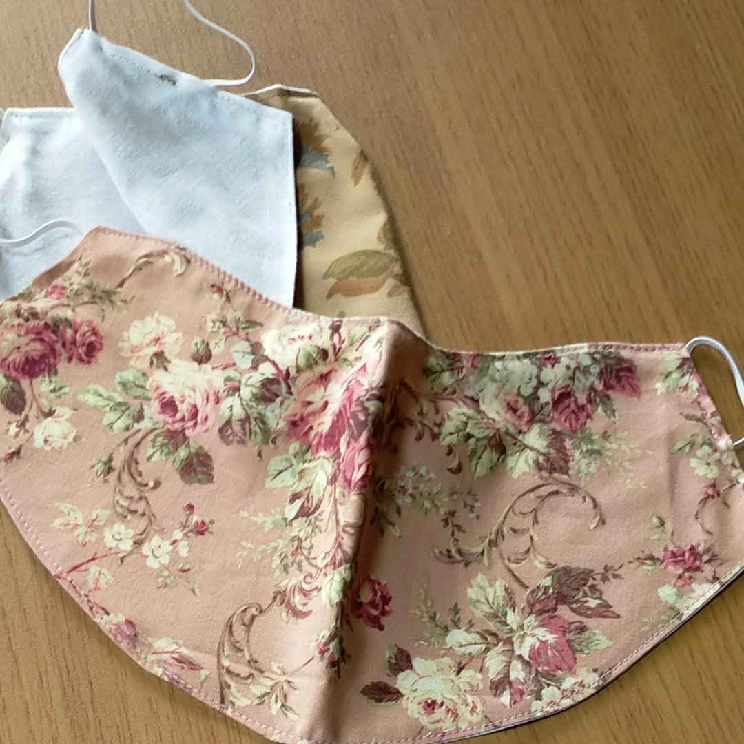 二枚組 格安 花柄 ハンドメイド薔薇の花 マスク