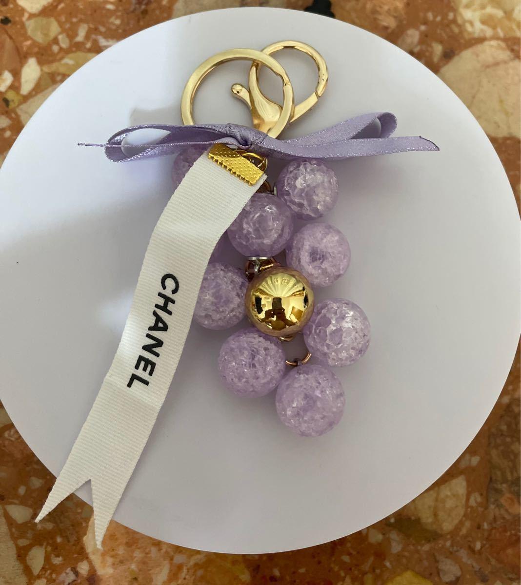 選べる 葡萄形 クラッシュ水晶タイプ バッグチャーム キーリング キーホルダー シャネル リボン