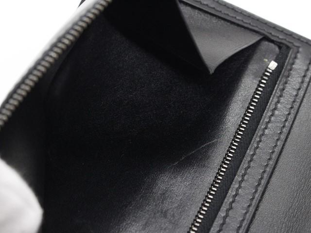 【大黒屋74】HERMES エルメス ベアン 二つ折り長財布 ボックスカーフ ブラック シルバー金具 I刻印_画像6