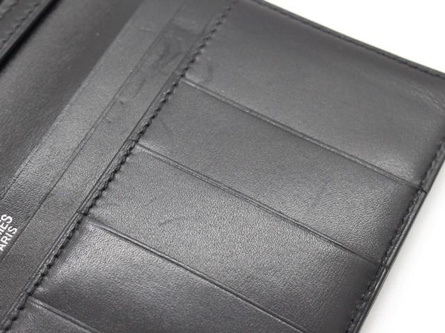 【大黒屋74】HERMES エルメス ベアン 二つ折り長財布 ボックスカーフ ブラック シルバー金具 I刻印_画像5