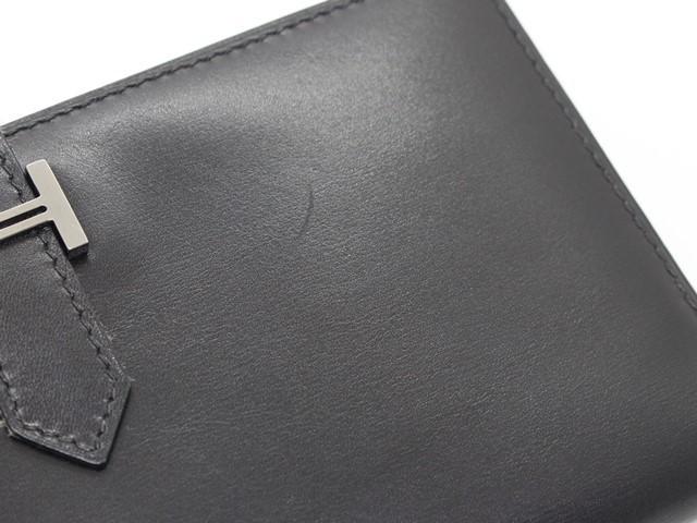 【大黒屋74】HERMES エルメス ベアン 二つ折り長財布 ボックスカーフ ブラック シルバー金具 I刻印_画像9