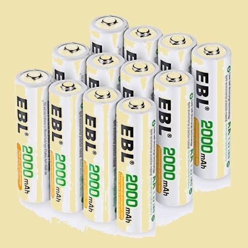 在庫残りあと僅か 単3形充電池 EBL L-TQ 12個入 ケ-ス付き*3(最小容量2000mAh、約1200回使用可能) 充電式ニッケル水素電池_画像1