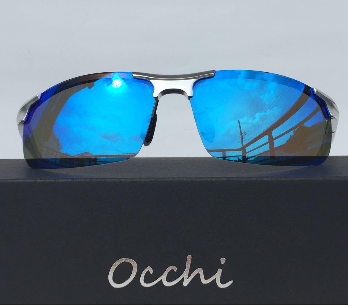 新品 OCCHI 偏光サングラス レンズUV400 軽量  ブルーミラー