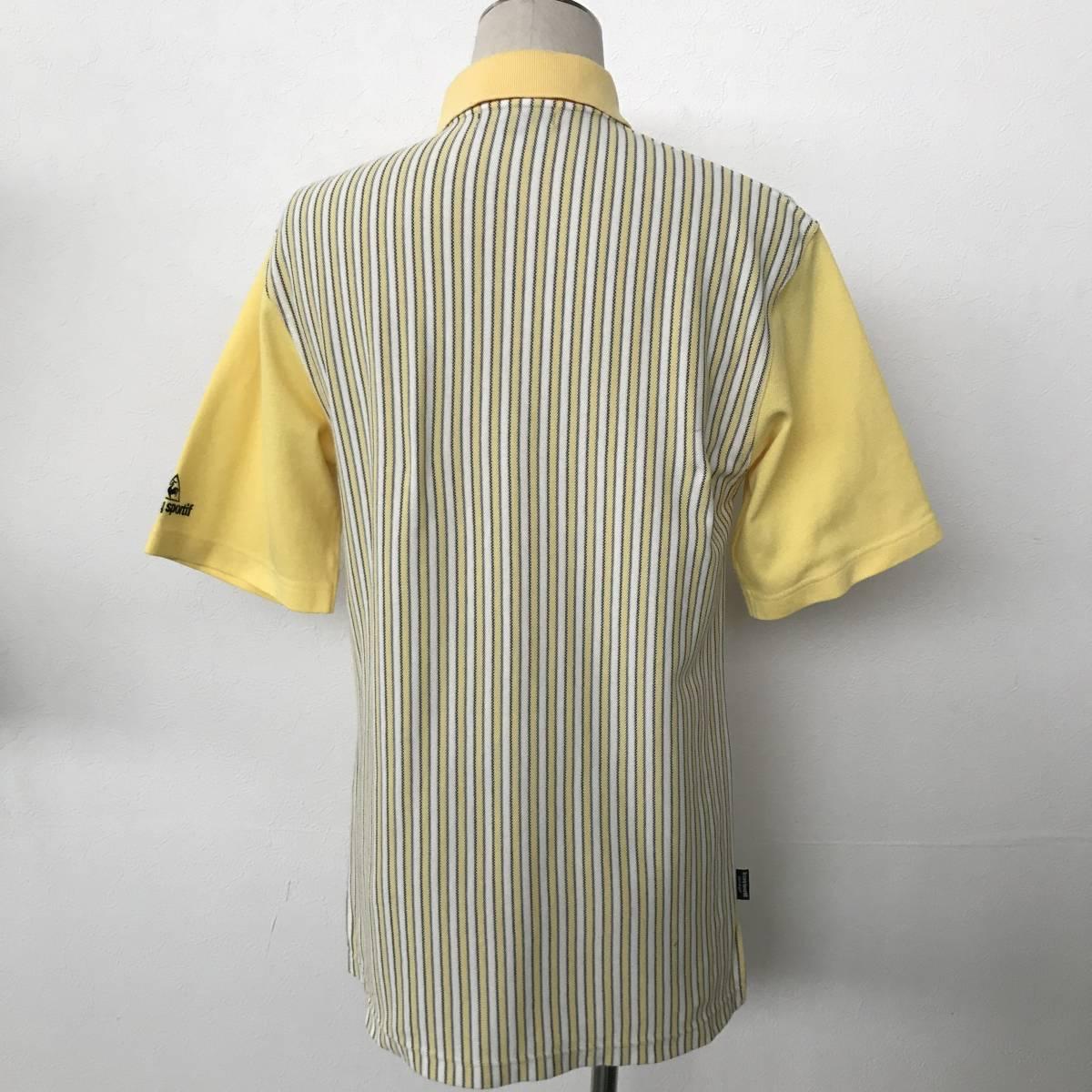le coq sportif GOLF COLLECTION ルコック ゴルフ メンズ ストライプ柄 ロゴ刺繍入り 半袖 速乾ストレッチポロシャツ 美品 size S/L_画像2