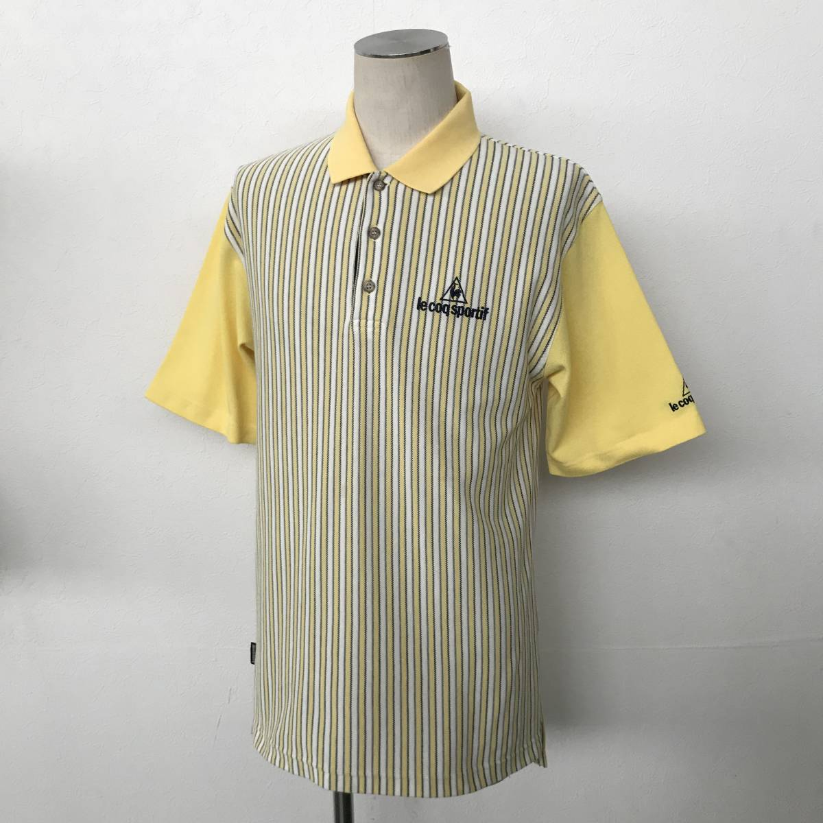 le coq sportif GOLF COLLECTION ルコック ゴルフ メンズ ストライプ柄 ロゴ刺繍入り 半袖 速乾ストレッチポロシャツ 美品 size S/L_画像1