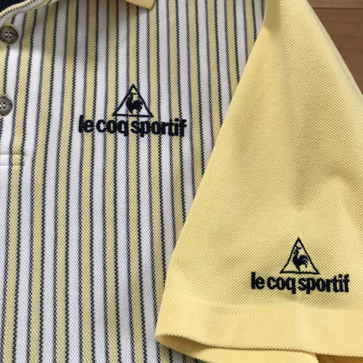 le coq sportif GOLF COLLECTION ルコック ゴルフ メンズ ストライプ柄 ロゴ刺繍入り 半袖 速乾ストレッチポロシャツ 美品 size S/L_画像7