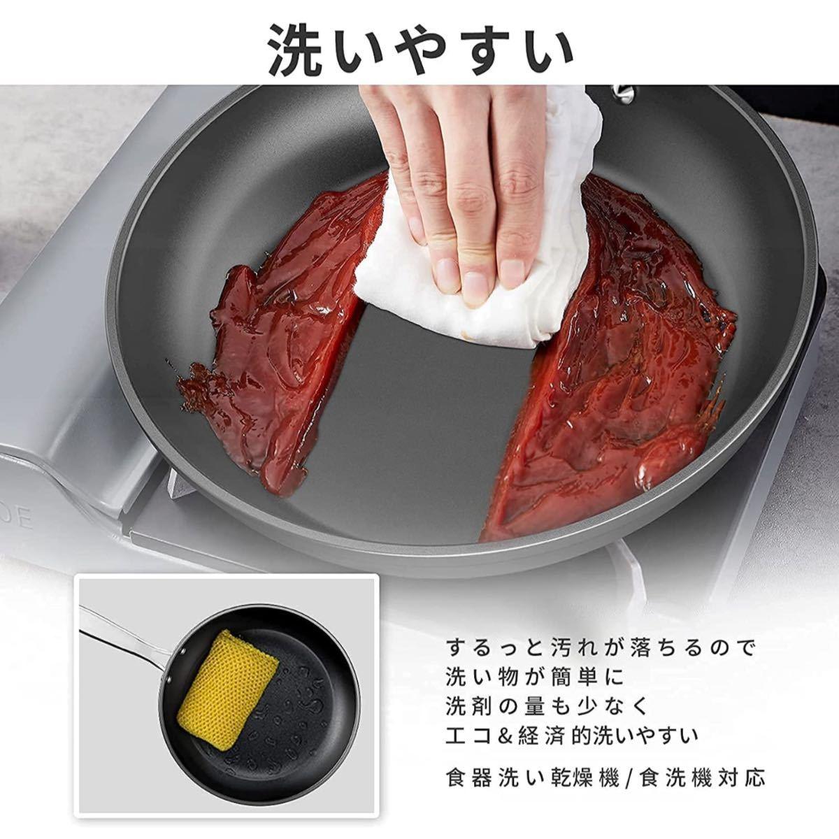 フライパン in対応 5層コーティング 焦げ付きにくい 熱ムラなし 優れた熱伝導