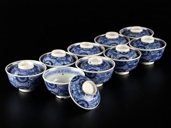 送料無料 中国美術 新渡 染付蓋茶碗九客 JX489