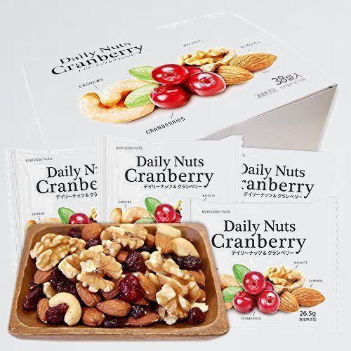 新品 未使用 小分け 個包装 K-Q6 備蓄食 保存食 ミックスナッツ&ドライフル-ツ 1007g (26.5gx38袋) Daily nuts Cranberry (素焼き_画像1