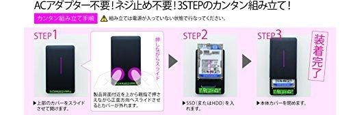 サイズUSB3.0 玄人志向 SSD/HDDケース 2.5型 USB3.0接続 ACアダプター不要/ネジ止め不要のスライド式 GW_画像5