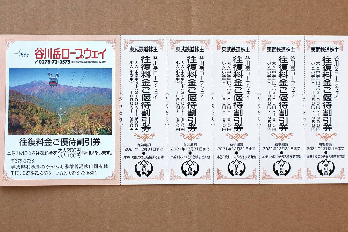 【即決】谷川岳ロープウェイ 往復優待割引券 5枚 未使用 【数量1】_画像1