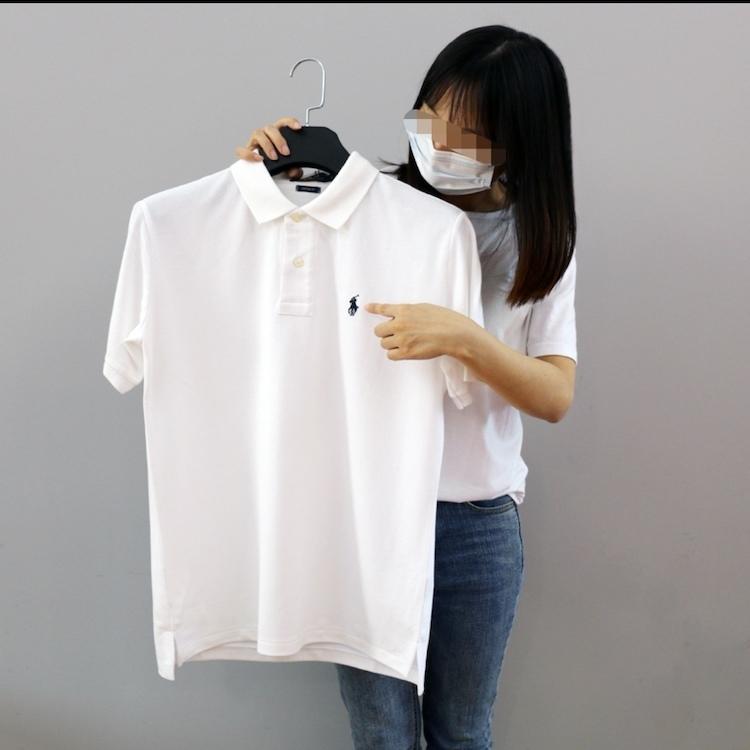 在庫処分!メンズポロシャツ POLO RALPH LAUREN ポロ ラルフローレン 定番 ワンポイント ポニー刺繍 トップス 半袖 綿 tシャツ ホワイト S_画像1