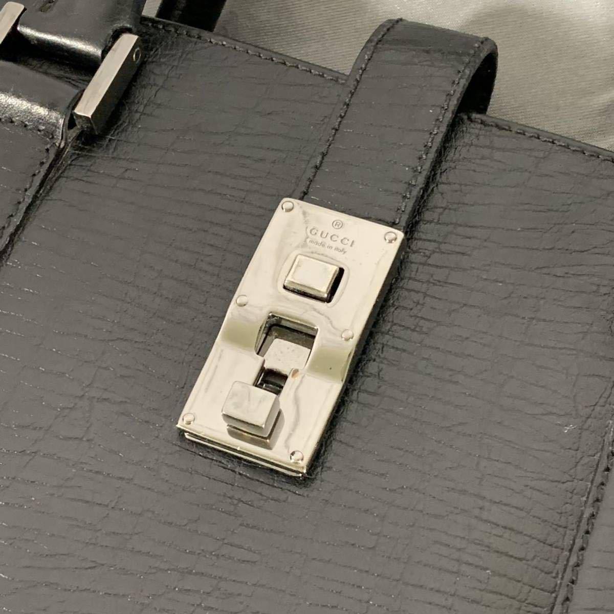 本物 超美品 グッチ 最高級グレインカーフレザー SVロック金具 メンズビジネスバッグ ブラック A4書類ブリーフケース トートバッグ GUCCI_画像6