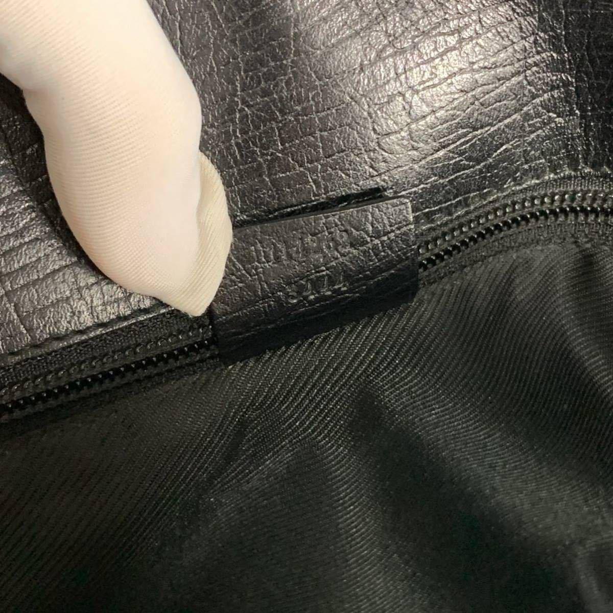 本物 超美品 グッチ 最高級グレインカーフレザー SVロック金具 メンズビジネスバッグ ブラック A4書類ブリーフケース トートバッグ GUCCI_画像10