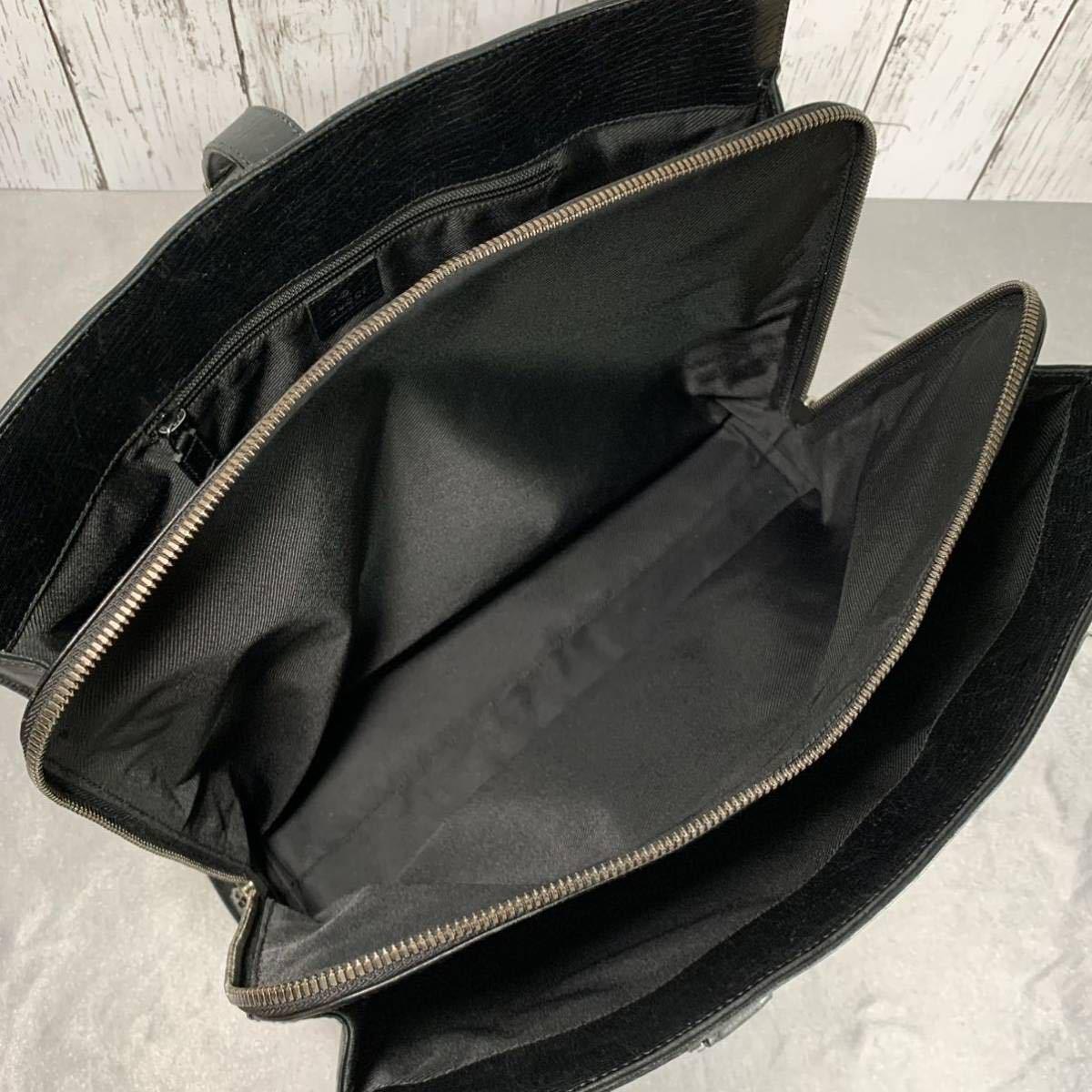 本物 超美品 グッチ 最高級グレインカーフレザー SVロック金具 メンズビジネスバッグ ブラック A4書類ブリーフケース トートバッグ GUCCI_画像8