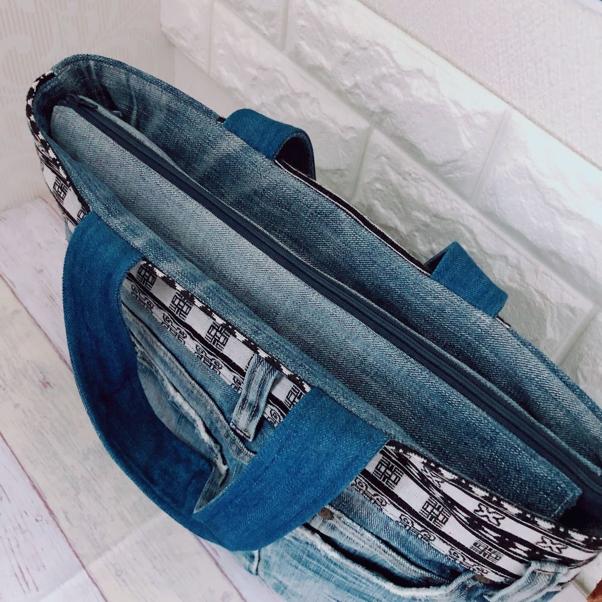 ハンドメイド トートバッグ デニムリメイク 蓋付きトートバッグ