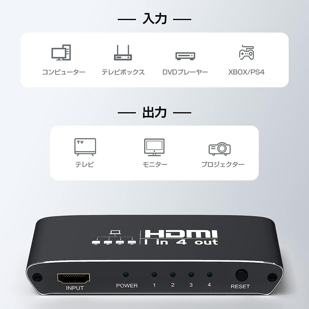 HDMI 分配器 スプリッター 1入力4出力 4K 3D 1080P アルミニウム合金の本体 USB電源ケーブル付き