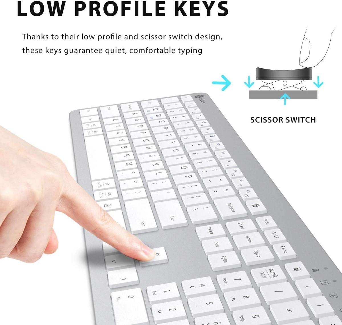 iClever ワイヤレス キーボード テンキー付き 充電式 フルサイズ 2.4G 無線 US配列 GKA33S シルバー
