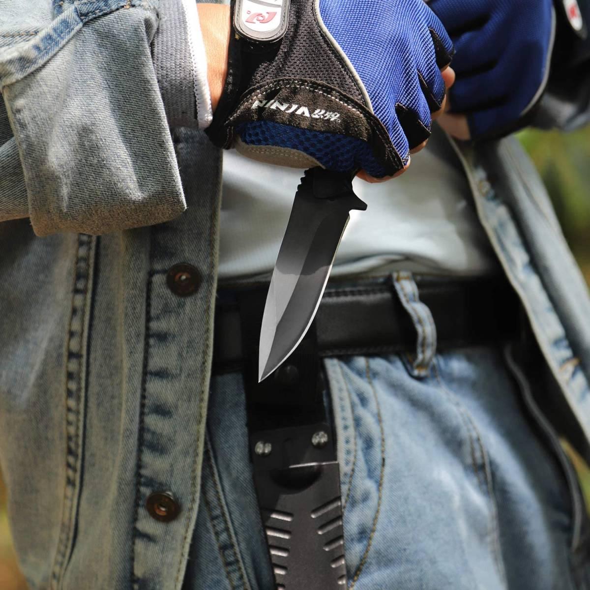 【ステンレススチール】フルタング シース ナイフ フィッシング 釣り キャンプ サバイバル