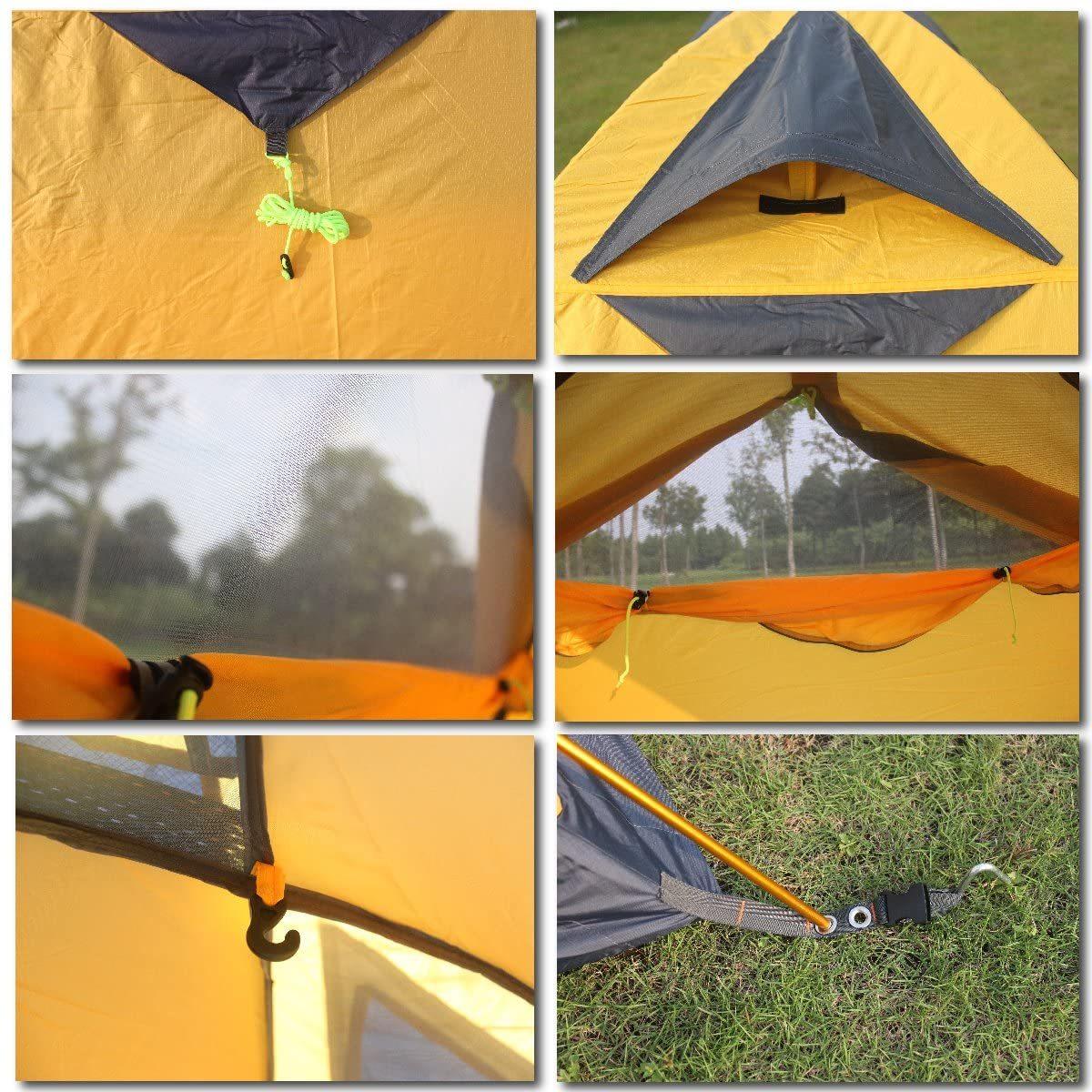 ソロ キャンプ テント スカート付き 4シーズン イエロー ツーリング アウトドア BBQ 防災 避難 2人用 レッド