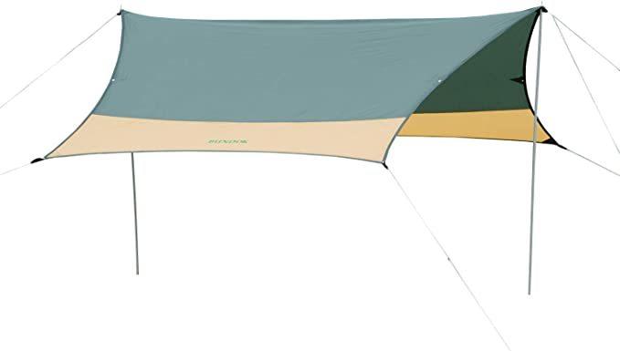 【ヘキサ タープ】BUNDOK バンドック ヘキサゴン 3~4人用 テント キャンプ 初心者 ツーリング ダークグリーン x マイルドベージュ