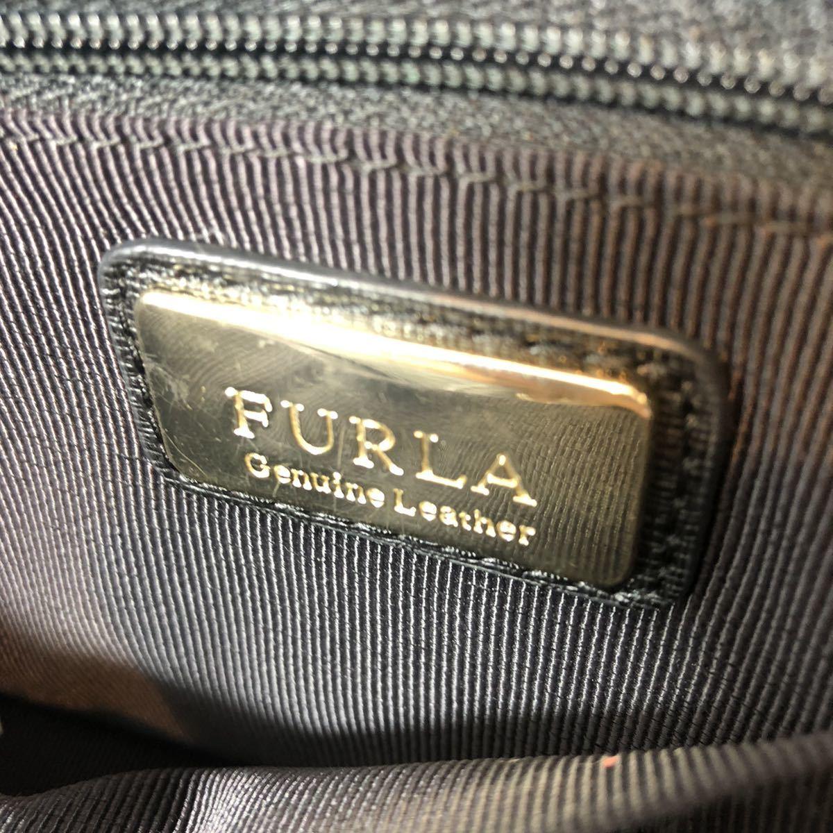 1円 FURLA フルラ レザー ゴールド金具 ハンドバッグ トートバッグ 手提げかばん 手持ちかばん レディース ブラック系 1円スタート_画像10
