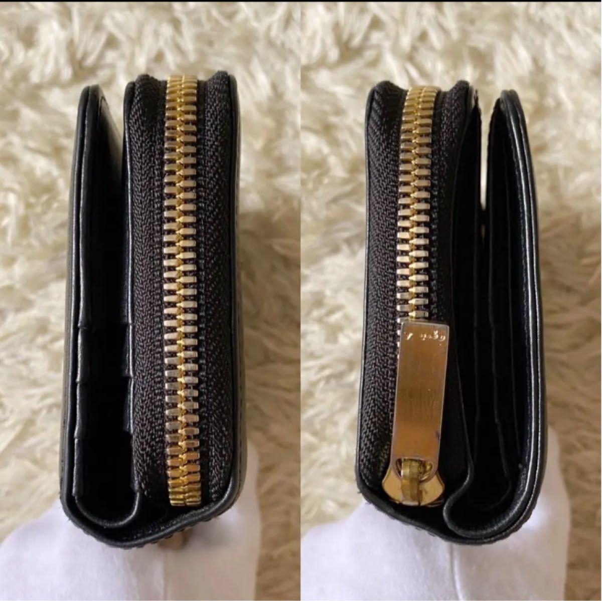 agnes b. アニエスベー ボヤージュ 二つ折り財布 ウォレット コンパクト ゴールド ロゴ レザー ブラック 黒