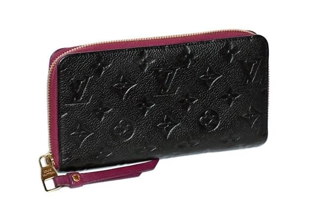 【確実正規品】極美品!Louis Vuittonルイヴィトン アンプラント ポルトフォイユ・スクレットロン ジッピーウォレット 黒×ボルドー系