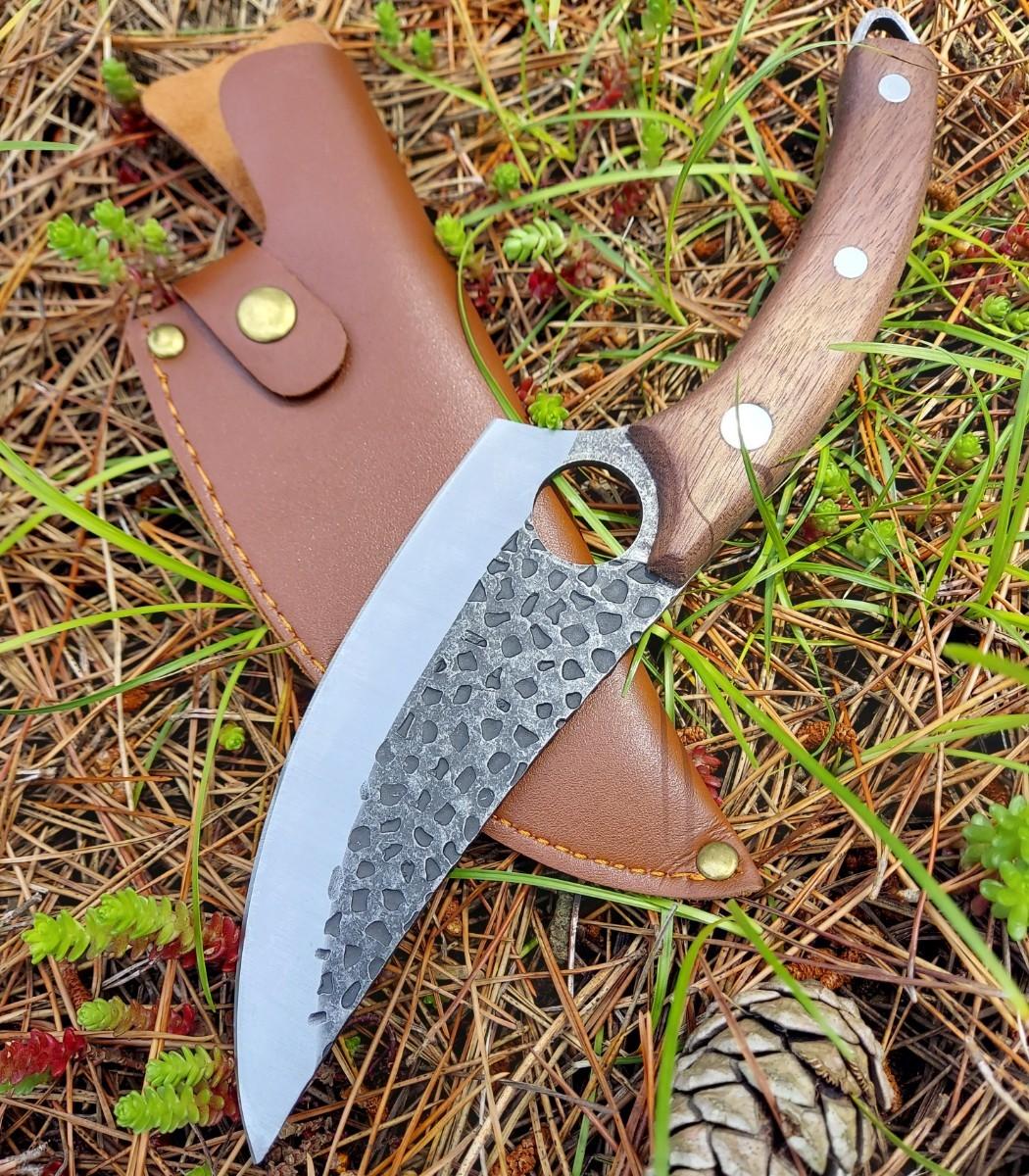 鍛造 厚刃 ロング アウトドアナイフ フルタング シースナイフ