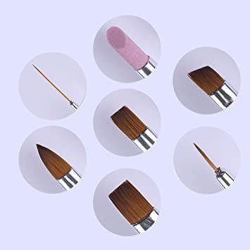 パープル ネイルブラシセット ラウンド 極細 ライナー フレンチ ネイルアート筆 ジェルネイル筆 7本セット_画像4