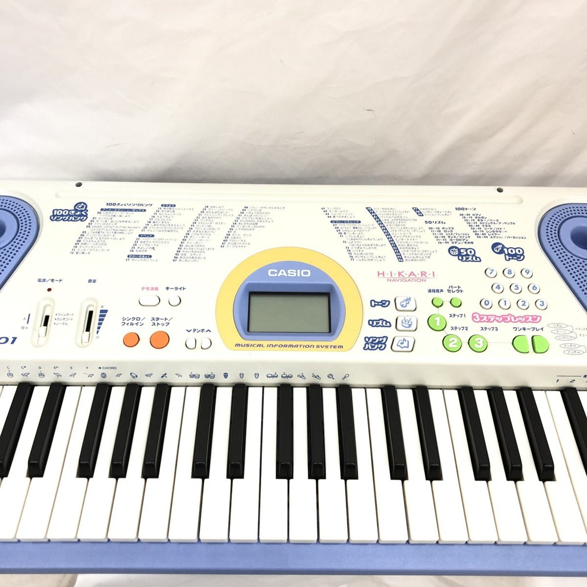中古 CASIO カシオ 電子キーボード 光ナビゲーション LK-101 61鍵盤 グレー ブルー ポップカラー 電子ピアノ 鍵盤楽器 H15605_画像6