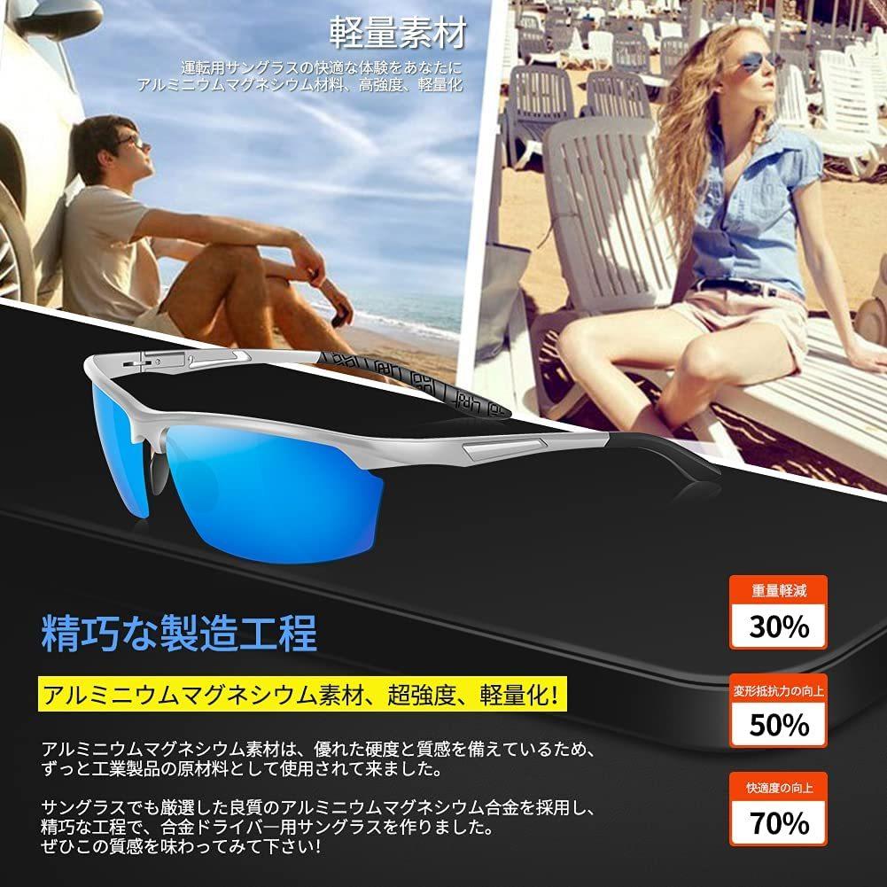 【送料無料】Glazata 偏光スポーツサングラス 偏光グラス 昼夜兼用・超軽量メタル UV400 紫外線カット ゴルフ 運転 男女兼用 ブルー 青